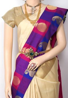 Sandal Colored Plain Body with Pepsi Blue with Pink Colored Check Bordered Stylish Kanchipuram Pure Silk Saree and Pink Tissue Pallu and Plain Pink Color Blouse @ Rs.21650 http://www.shreedevitextile.com/women/sarees/silk-saree/shree-devi/sandal-colored-kanchipuram-pure-silk-saree