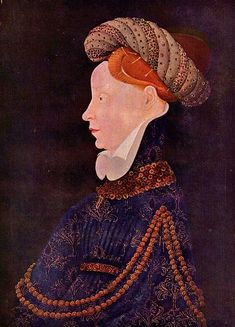 This woman wears a houppelande of dark blue figured fabric with a narrow belt. Her hair is shaved back from her forehead, and she wears a blunt pointed cap (now over-restored), France or Flanders, c. 1410.