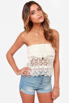 Cotton Candy Crochet Grace Strapless Cream Top on shopstyle.com