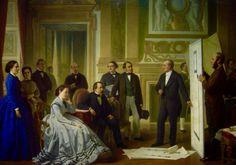 Napoleon III y Eugenia de Montijo observando el proyecto de ampliación del Louvre en 1853
