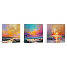 """iCanvas """"Diminuendo Sky Triptych"""" by Scott Naismith Canvas Wall Art - The Home Depot 3 Piece Painting, Large Painting, Painting Prints, Art Paintings, Scott Naismith, Canvas Artwork, Canvas Wall Art, Canvas Prints, Marble Art"""