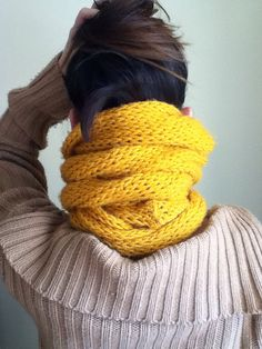 Super long mustard yellow loomed knit scarf circle scarf infinity scarf vintage yellow on Etsy, $40.00
