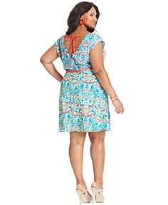 Love Squared Plus Size Dress, Cap-Sleeve Floral-Print A-Line - Plus Size Dresses - Plus Sizes - Macys