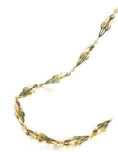 Gold and plique-à-jour enamel chain, Lalique, early 20th century