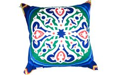 Blue Khayameya Cushion by Bedaya. Now available at TheGiftery.com! For more information call 01221103868 (Sunday- Thursday 9:30 am to 5:30 pm) Ramadan Crafts, Ramadan Decorations, Ramadan 2016, Egyptian, Thursday, Folk Art, Applique, Projects To Try, Cushion