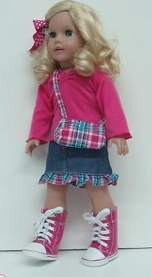 "PINK TOP + DENIM SKIRT + PURSE - 18"" Girl Doll Clothes - An American Boutique"