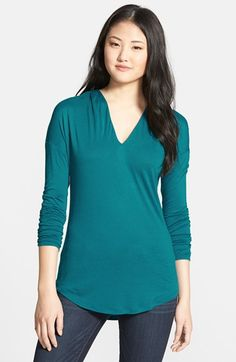 Halogen® Tucked V-Neck Long Sleeve Top available at #Nordstrom