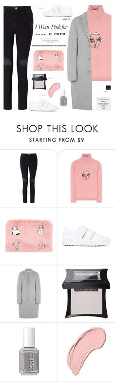 """""""I Wear Pink for... a cure 💕 / Shrimps Marion Wool Turtleneck Sweater"""" by palmtreesandpompoms ❤ liked on Polyvore featuring Miss Selfridge, Shrimps, Valentino, Acne Studios, Illamasqua, Essie, NYX, Fresh, acne and netaporter"""