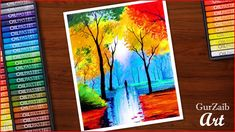 Nature drawing with oil pastels – colorful trees in rainy season painting (very easy) step by step Oil Pastel Paintings, Oil Pastel Art, Oil Pastel Drawings, Colorful Drawings, Crayon Drawings, Art Drawings, Oil Pastel Landscape, Oil Pastel Crayons, Crayon Painting