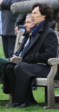Benedict Cumberbatch & Martin Freeman filming #Sherlock season 3