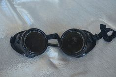Vintage Steampunk Welding Glasses or Goggles with Green by frogpaw