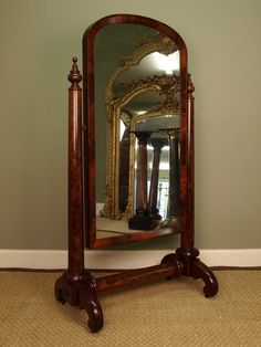 Antiques Atlas - A William IV Mahogany Cheval Mirror Cheval Mirror, Timeless Beauty, Mirrors, Oversized Mirror, Google Search, Antiques, Classic, Inspiration, Vintage