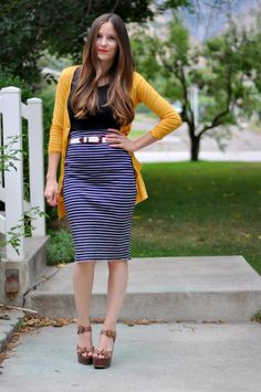 mustard / black / blue + white stripes