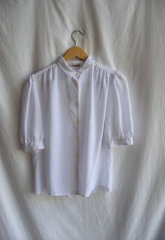 1960s sheer white blouse with tiny collar large by specailgirl7, $25.00