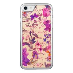 Ultra violetfloralhand written text water color carved iPhone 8/7 case