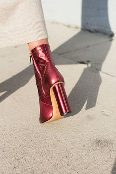 Same day shipping on Jill Stuart Martine boot in metallic cherry. Slim fitted ankle boots with an inner ankle zip, a rounded point toe and a column block heel. Upper is leather, sole and inner. Cinderella Shoes, Metallic Shoes, Only Shoes, All About Shoes, Short Boots, Shoe Sale, Block Heels, Fashion Shoes, Ankle Boots