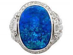 3.83ct Black Opal and 1.15ct Diamond, Platinum Cocktail Ring - Antique Circa 1930 SKU: A9993 #opalsignetring #platinumsignetring