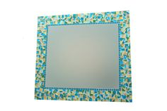 Wall Mirror // Colorful Mosaic Mirror // Teal, Blue, Tan, Green // Wall Decor