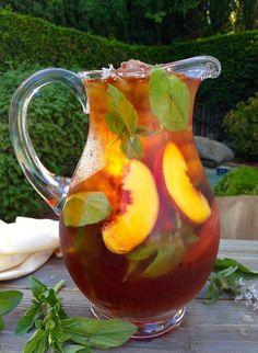 Healthy Skin Iced Saffron Tea Recipe with Peach and Basil