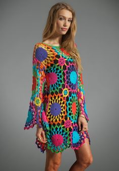 Psych Out UNIF Colorful Crochet Dress