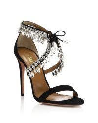 Aquazzura | Black Milla Crystal Fringe Suede Sandals | Lyst
