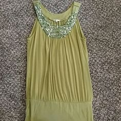 Green dress tank top Cute long green top with beading and sequins on around the collar. Studio Y Tops Tank Tops