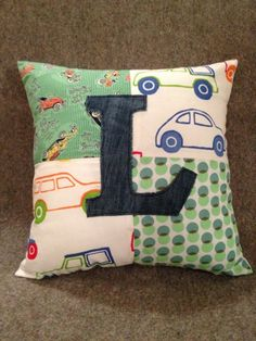 Personalised Children's Cushion - Boy with Denim Letter