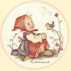 """This is for a cross stitch chart for the pictured designs by M J Hummel from JCA Inc entitled """"Carefree Days"""".  There are 2 designs in this chart.  The titles and stitch counts are as follows:-  Meeting In The Meadow (Girl and bird) - 105 x 108  Meeting On The Mountain (Boy and bird) - 96 x 112"""