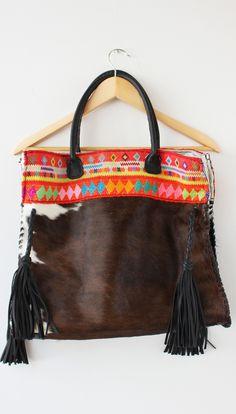 a3a8282d5b2a3e Mil Soles Black Cowhide Orange Print Bag Hippie Boho