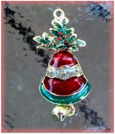 Christmas Bell Charm 24K goldplated and enamel by TheIndigoRaven, $5.00
