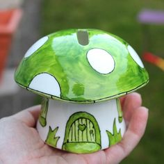 Check out this item in my Etsy shop https://www.etsy.com/uk/listing/463322691/mushroom-money-box-in-green-magical-hand