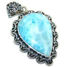 $112.95 Rich+Design+Genuine+Blue+Larimar++Sterling+Silver+Pendant at www.SilverRushStyle.com #pendant #handmade #jewelry #silver #larimar