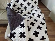 This modern plus quilt will take 3-5 weeks to be completed aftter purchase. For this quilt will be used solid white and black cotton fabrics for the top and white polka dot on black for the backing. This pattern can be done with using any other colors according to your request (please send me note while completing the order). At the photo is toddler size of the quilt. Heart to Heart Quilts are machine pieced and quilted in a smoke and pet free environment. Care: recommended machine wash w...