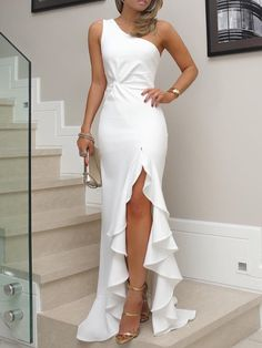 Sexy evening party dress Plus size one shoulder ruched ruffled bodycon dress Elegant ladies solid maxi dress vestidos Elegant Dresses, Sexy Dresses, Beautiful Dresses, Fashion Dresses, Formal Dresses, Long Dresses, Wedding Dresses, Wedding Shoes, Dress Long