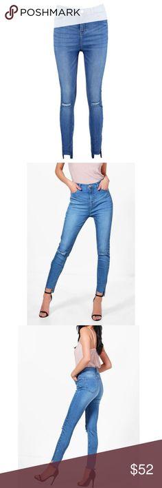 High Rise Slit Knee Hem Skinny Jeans High Rise Slit Knee Hem Skinny Jeans . Slit in left and right knee UK 14 US 10 fits M/L Boohoo Jeans Skinny