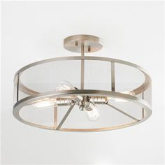 for master - love this, dovetails beautifully with the modern lamp and end tables. But needs to be on a dimmer! Mesh Industrial Semi Flush Mount Ceiling Light
