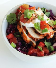Thursday: Fresh burrito bowl with grilled chicken (350 calories) and half a cup of fresh blueberries (42 calories): 392 calories  Friday: Spicy chicken chili (324 calories) with two cups of sliced cucumber (32 calories) and two tablespoons of yogurt dill dip (20 calories): 376 calories  Photo: Lizzie Fuhr
