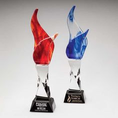 Accent Awards - Beacon Flare Art Glass, Blue or Red, $295.00 (http://www.accentawards.org/beacon-flare-art-glass-blue-or-red/)