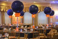 Navy & Orange Aqua Gem Centerpiece Bar Mitzvah Centerpiece with Aqua Gems, LED Lights & Large Navy & Orange Balloons