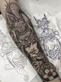 Japanese Tattoos For Men, Japanese Tattoo Art, Japanese Sleeve Tattoos, Full Sleeve Tattoos, Tattoo Sleeve Designs, Tattoo Sleeves, Forarm Tattoos, King Tattoos, Wolf Tattoos