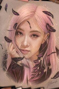 #blackpink #chaeyoung Kpop Drawings, Art Drawings Sketches, Blackpink Poster, Lisa Blackpink Wallpaper, Black Pink Kpop, Image Manga, Rose Art, Realistic Drawings, Prismacolor