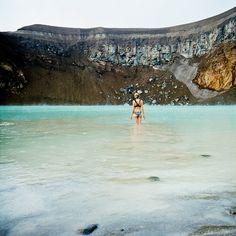 Swimming in Viti crater lake, Iceland, not far from Akureyri