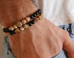 Pulsera hombres - hombres abalorios pulsera - de los hombres piedras preciosas Pulseras - joyería - regalo de los hombres - de hombres esposo regalo - novio regalo - hombre