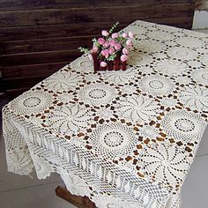 Vintage Handmade Hollow Out Cotton Beige Table Cloth - AUD $ 47.50
