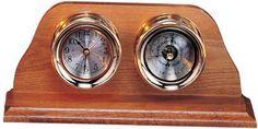 """6"""" Polished Brass Quartz Clock & Barometer Weather Station"""