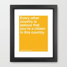 Every Other Country Framed Art Print by Emergency Compliment - $32.00