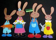 """Fensterbild aus Tonkarton """" Hasenfamilie XXL """" Ostern"""