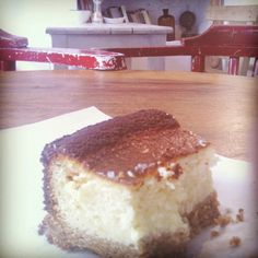 Cheesecake with organic goat cheese and baked in a wood owen