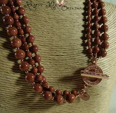 Goldstone and Copper Triple Delight Necklace and Earrings Set | KraftyMax - Jewelry on ArtFire