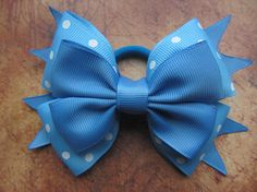 Royal blue bow Back to school bow Light blue bow 5 inch hair